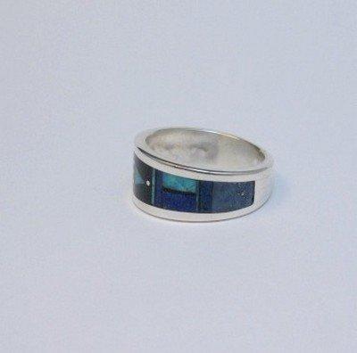 Image 3 of Jim Harrison Navajo Multistone Inlay Silver Ring sz13