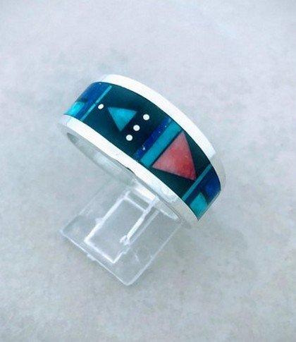 Image 0 of Jim Harrison Navajo Multistone Inlay Silver Ring sz13
