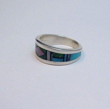 Image 2 of Jim Harrison Navajo Multistone Inlay Sterling Unisex Ring sz9
