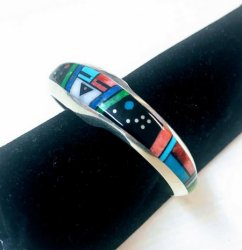 Jim Harrison Navajo Native American Multigem Inlaid Bracelet Extra-Small