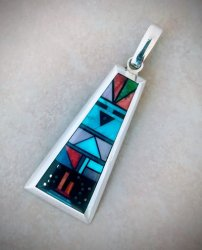 Navajo Sunface Multigem Inlay Pendant by Jim Harrison