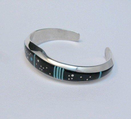 Image 1 of Jim Harrison Navajo Native American Inlaid Black Night Sky Bracelet, size M