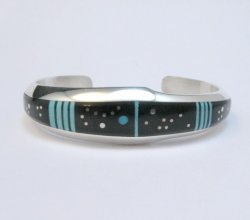 Jim Harrison Navajo Native American Inlaid Black Night Sky Bracelet, size M