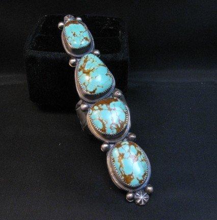 Image 0 of Super Long Navajo 4-Stone Turquoise Ring Juanita Long sz8-1/2