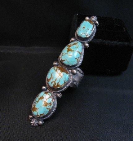 Image 1 of Super Long Navajo 4-Stone Turquoise Ring Juanita Long sz8-1/2