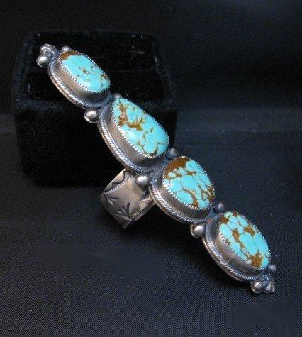 Image 2 of Super Long Navajo 4-Stone Turquoise Ring Juanita Long sz8-1/2