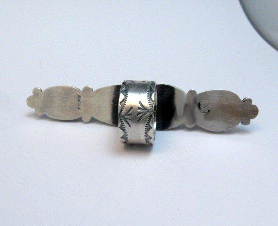 Image 3 of Super Long Navajo 4-Stone Turquoise Ring Juanita Long sz8-1/2
