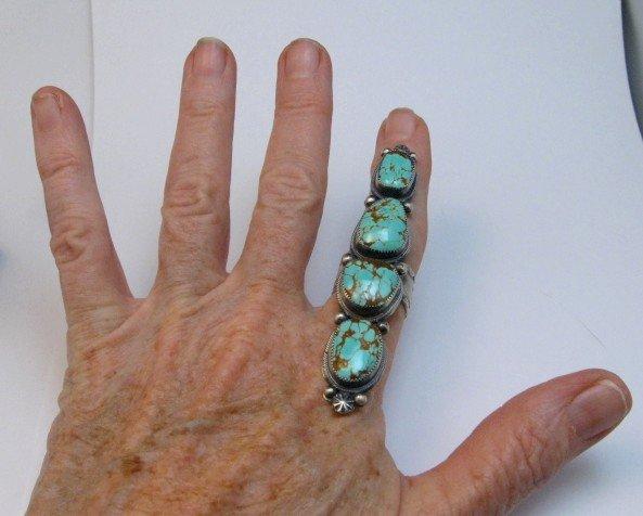 Image 4 of Super Long Navajo 4-Stone Turquoise Ring Juanita Long sz8-1/2