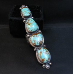 Super Long Navajo 4-Stone Turquoise Ring Juanita Long sz8-1/2