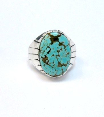 Image 0 of Ray Jack Navajo Native American Number 8 Turquoise Ring Sz13