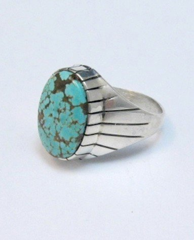 Image 3 of Ray Jack Navajo Native American Number 8 Turquoise Ring Sz13