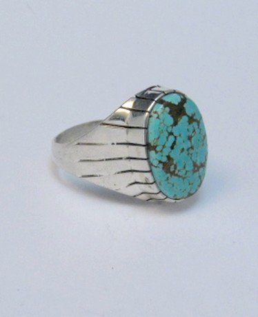 Image 4 of Ray Jack Navajo Native American Number 8 Turquoise Ring Sz13