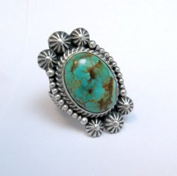 Navajo Michael and Rose Calladitto Turquoise Silver Ring sz7