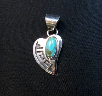 Image 0 of Navajo Turquoise Heart Pendant, Everett & Mary Teller