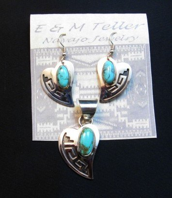 Image 2 of Navajo Turquoise Heart Pendant, Everett & Mary Teller
