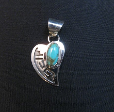 Image 3 of Navajo Turquoise Heart Pendant, Everett & Mary Teller