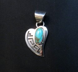Navajo Turquoise Heart Pendant, Everett & Mary Teller
