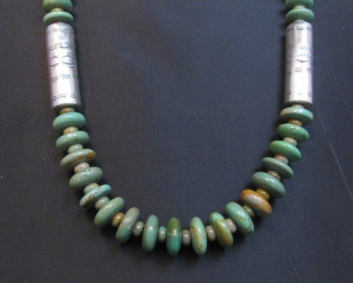 Image 3 of Navajo Royston Turquoise Bead Silver Barrel Necklace, Everett & Mary Teller