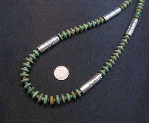 Image 6 of Navajo Royston Turquoise Bead Silver Barrel Necklace, Everett & Mary Teller
