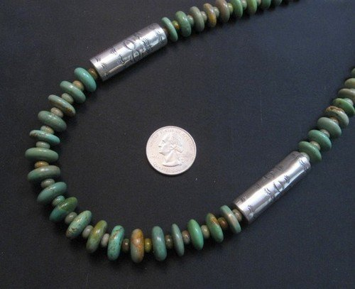 Image 7 of Navajo Royston Turquoise Bead Silver Barrel Necklace, Everett & Mary Teller
