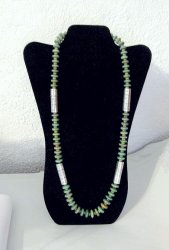 Navajo Royston Turquoise Bead Silver Barrel Necklace, Everett & Mary Teller