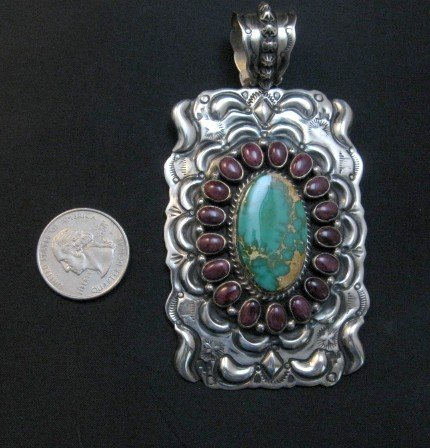 Image 1 of Big Native American Turquoise Spiny Oyster Pendant, Darryl Becenti