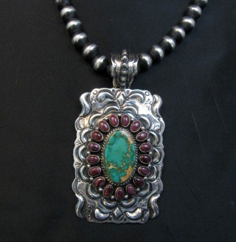 Image 0 of Big Native American Turquoise Spiny Oyster Pendant, Darryl Becenti