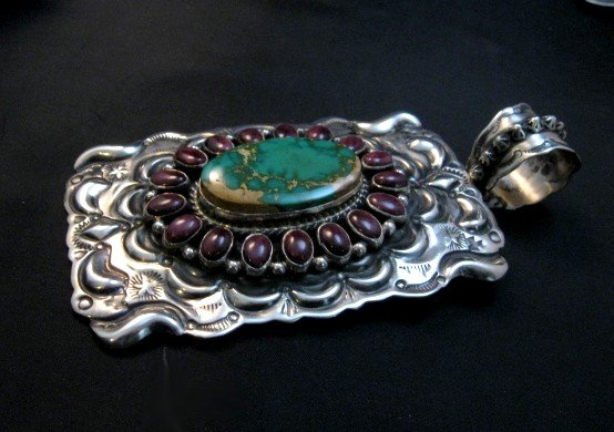 Image 2 of Big Native American Turquoise Spiny Oyster Pendant, Darryl Becenti