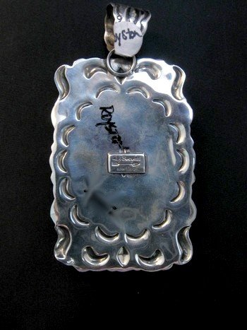 Image 3 of Big Native American Turquoise Spiny Oyster Pendant, Darryl Becenti