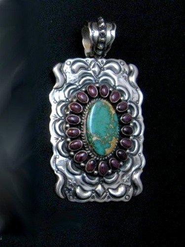 Image 4 of Big Native American Turquoise Spiny Oyster Pendant, Darryl Becenti