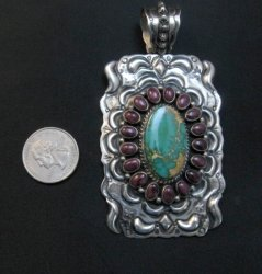 Big Native American Turquoise Spiny Oyster Pendant, Darryl Becenti