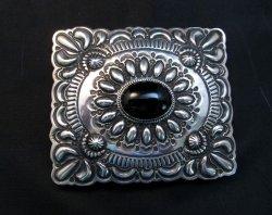 Fancy Darryl Becenti Navajo Black Onyx Sterling Silver Ring sz10
