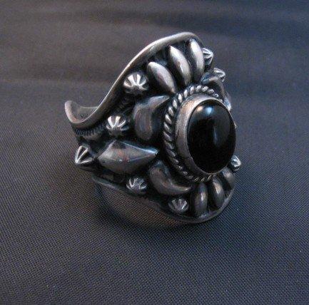 Image 1 of Fancy Darryl Becenti Navajo Black Onyx Sterling Silver Ring sz10