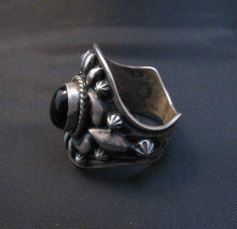 Image 2 of Fancy Darryl Becenti Navajo Black Onyx Sterling Silver Ring sz10