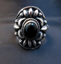 Fancy Darryl Becenti Navajo Black Onyx Sterling Silver Ring sz10