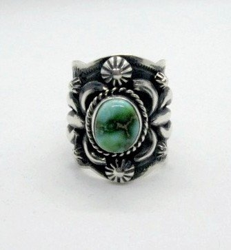 Image 4 of Navajo Darryl Becenti Sonoran Gold Turquoise Silver Ring sz9