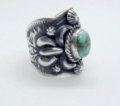 Image 1 of Navajo Darryl Becenti Sonoran Gold Turquoise Silver Ring sz9