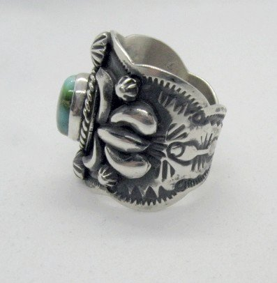Image 2 of Navajo Darryl Becenti Sonoran Gold Turquoise Silver Ring sz9