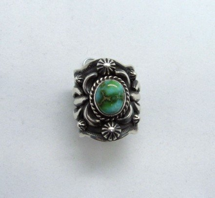 Image 0 of Navajo Darryl Becenti Sonoran Gold Turquoise Silver Ring sz9