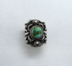 Navajo Darryl Becenti Sonoran Gold Turquoise Silver Ring sz9