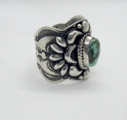 Image 3 of Navajo Darryl Becenti Sonoran Gold Turquoise Silver Ring sz10-3/4