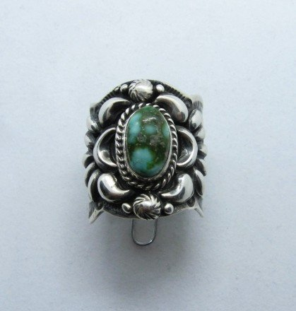 Image 0 of Navajo Darryl Becenti Sonoran Gold Turquoise Silver Ring sz10-3/4