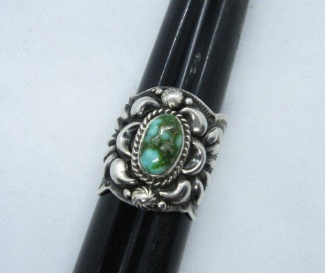 Image 2 of Navajo Darryl Becenti Sonoran Gold Turquoise Silver Ring sz10-3/4