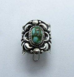Navajo Darryl Becenti Sonoran Gold Turquoise Silver Ring sz10-3/4