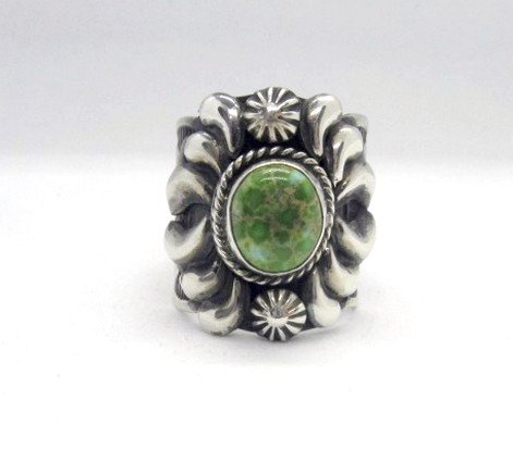 Image 0 of Navajo Native American Darryl Becenti Turquoise Silver Ring sz11