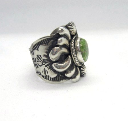 Image 1 of Navajo Native American Darryl Becenti Turquoise Silver Ring sz11