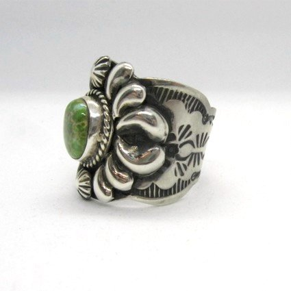 Image 2 of Navajo Native American Darryl Becenti Turquoise Silver Ring sz11