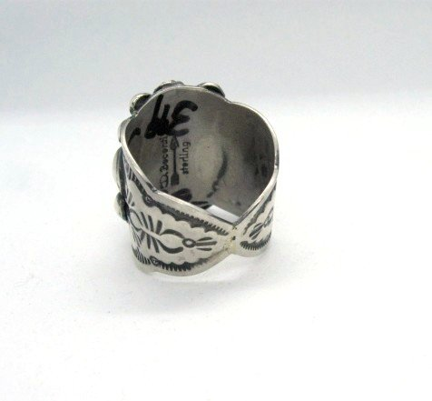 Image 3 of Navajo Native American Darryl Becenti Turquoise Silver Ring sz11
