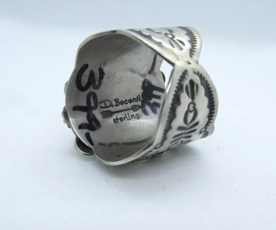 Image 4 of Navajo Native American Darryl Becenti Turquoise Silver Ring sz11