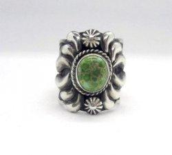 Navajo Native American Darryl Becenti Turquoise Silver Ring sz11